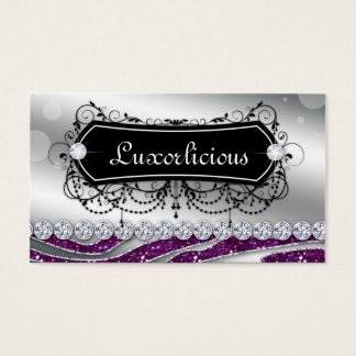 Luxury Jewelry Salon Fashion Zebra Purple Glitter Business Card