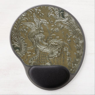 LUXURY LEATHER Gilded Dragon Print Gel Mouse Pad