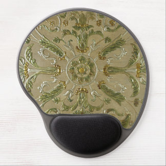 LUXURY LEATHER Gilded Floral Print Gel Mouse Pad