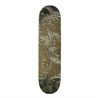 LUXURY LEATHER Gilded Silver Dragon Skateboard