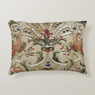 LUXURY LEATHER Silver Pheasant Gilded Accent Decorative Cushion