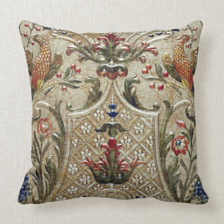 LUXURY LEATHER Silver Pheasant Gilded Cushion