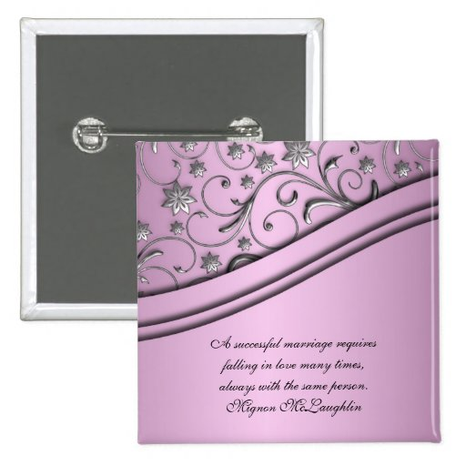 Luxury Lilac Damask Swirls Quotes Button Pin
