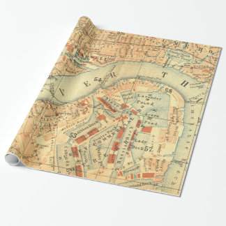 Luxury London River  Thames vintage map Wrapping Paper