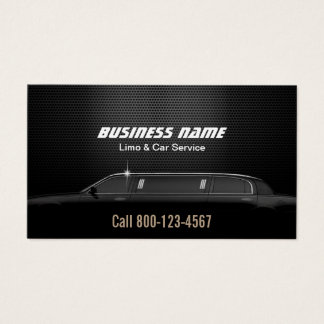 Luxury Metal Background Limo & Car Service Business Card