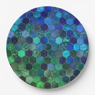 Luxury Metal Foil Glitter Blue Green honeycomb 9 Inch Paper Plate