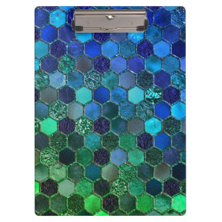 Luxury Metal Foil Glitter Blue Green honeycomb Clipboard