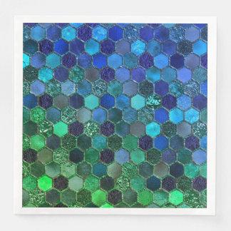 Luxury Metal Foil Glitter Blue Green honeycomb Disposable Serviettes