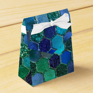 Luxury Metal Foil Glitter Blue Green honeycomb Favour Box