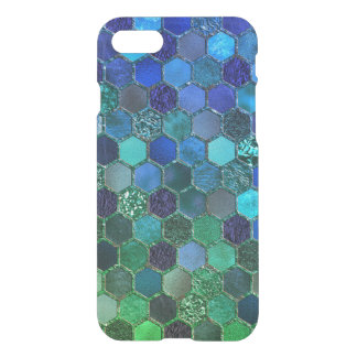 Luxury Metal Foil Glitter Blue Green honeycomb iPhone 8/7 Case