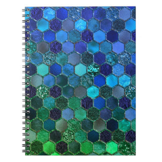 Luxury Metal Foil Glitter Blue Green honeycomb Notebook