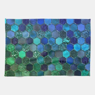 Luxury Metal Foil Glitter Blue Green honeycomb Tea Towel
