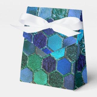 Luxury Metal Foil Glitter Blue Green honeycomb Wedding Favour Box