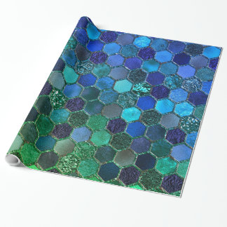 Luxury Metal Foil Glitter Blue Green honeycomb Wrapping Paper
