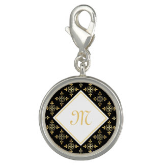 Luxury Monogram Black and Gold Quatre Floral