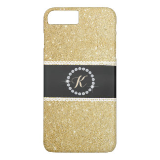 Luxury Monogram Black Belt Gold Glitter iPhone 7 Plus Case