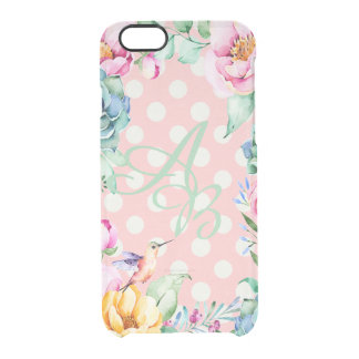 Luxury Monogram Flower and Dots- personalized Clear iPhone 6/6S Case