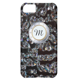 Luxury Monogram Gold Coin WIth DIamonds Background Case For iPhone 5C