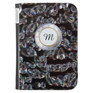 Luxury Monogram Gold Coin WIth DIamonds Background Cases For Kindle