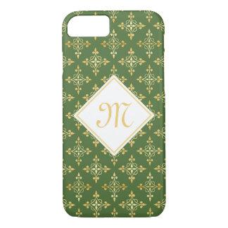 Luxury Monogram Green and FAUX Gold Quatre Floral iPhone 7 Case