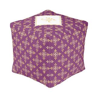 Luxury Monogram Purple and Gold Quatre Floral Pouf