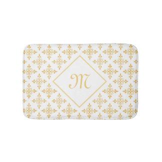 Luxury Monogram White and Gold Quatre Floral Bath Mats