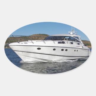 Luxury Motor Boat Oval Sticker