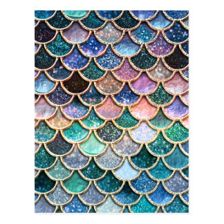 Luxury multicolor Glitter Mermaid Scales Postcard