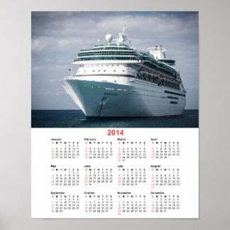 Luxury Ocean Liner Cruise Ship 2014 Calendar Poster
