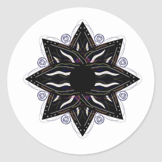 Luxury ornament  black on white classic round sticker