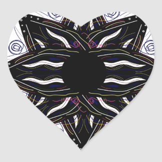 Luxury ornament  black on white heart sticker