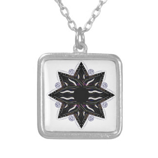 Luxury ornament  black on white silver plated necklace