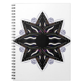 Luxury ornament  black on white spiral notebook