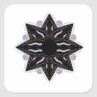 Luxury ornament  black on white square sticker