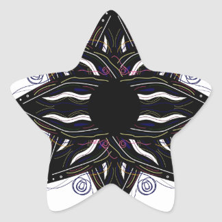 Luxury ornament  black on white star sticker