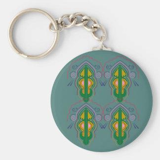 Luxury ornaments green blue key ring