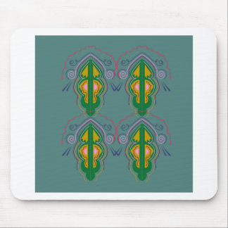 Luxury ornaments green blue mouse pad