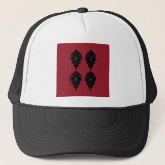 Luxury ornaments red black trucker hat