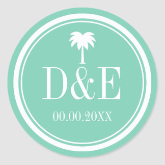 Luxury palm tree monogram beach wedding stickers