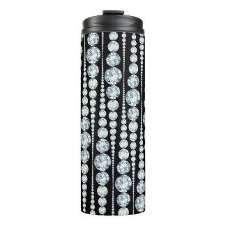 Luxury Pattern with white Diamond Stripes Thermal Tumbler