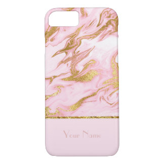 Luxury Pink Marble Pattern and Gold Foil-editable iPhone 8/7 Case