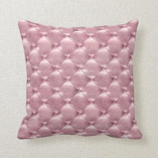 Luxury Pink Rose Blush Tufted Leather Opulent Glam Cushion