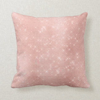 Luxury Pink Rose Gold Pink Metallic Sparkly Sequin Cushion