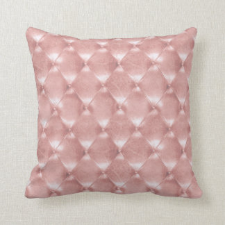 Luxury Pink Rose Gold Tufted Leather Opulent Silk Cushion