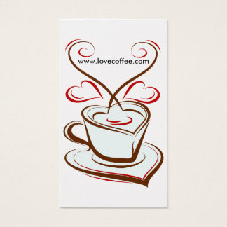 Luxury Platinum Love Coffee Cafe Business Card