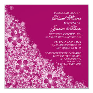 Luxury Plum Floral Spring Blanket Shower Invite Announcements