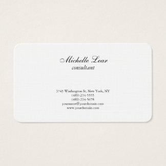 Luxury Premium Linen Black & White Plain Classical Business Card