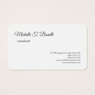 Luxury Premium Linen Black White Script Minimalist Business Card