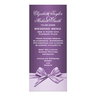 Luxury Purple Elegant Ribbon Wedding Menu 10 Cm X 24 Cm Invitation Card