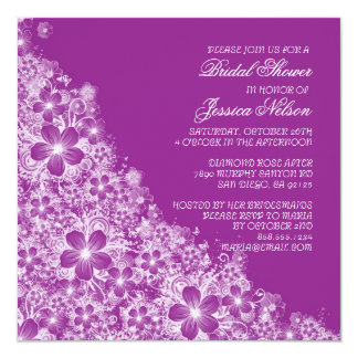 Luxury Purple Floral Spring Blanket Shower Invite